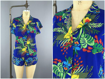 f6979a1423 Vintage Two Piece Beach Set   Blue Hawaiian Print
