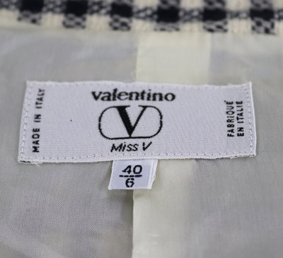 d40c4366dbcfa9 Vintage Valentino Miss V Suit   Gingham Wool with Silk Blouse   Scarf