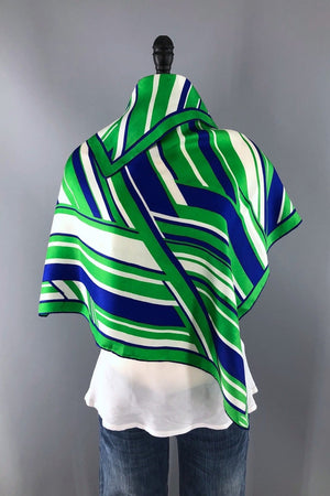 Vintage Vera Neumann Blue and Green Striped Scarf-ThisBlueBird - Modern Vintage
