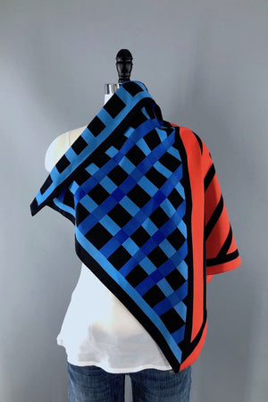 Vintage Vera Scarf / Red and Blue Geometric Print-ThisBlueBird - Modern Vintage