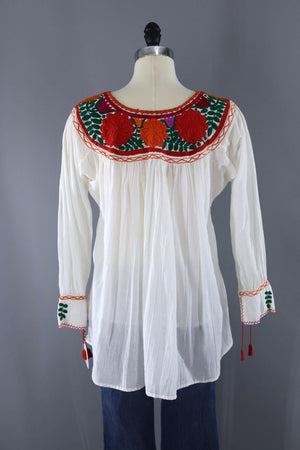 Vintage White Cotton Gauze Mexican Embroidered Tunic-ThisBlueBird - Modern Vintage