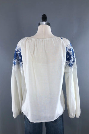 Vintage White Embroidered Tunic Top-ThisBlueBird - Modern Vintage