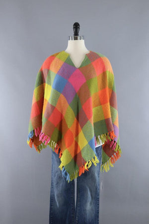 Vintage Wool Poncho Cape / Bright Pink and Orange Check - ThisBlueBird
