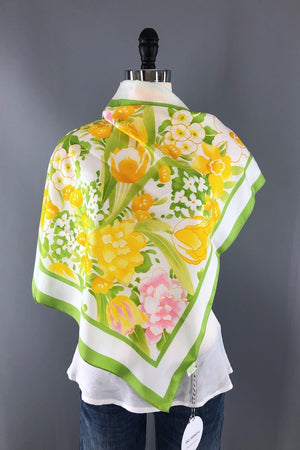 Vintage Yellow Floral Print Preppy Scarf-ThisBlueBird - Modern Vintage