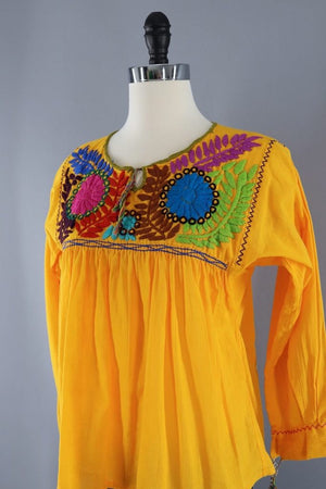 Vintage Yellow Mexican Embroiderd Tunic