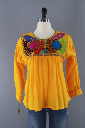 Vintage Yellow Mexican Embroiderd Tunic-ThisBlueBird - Modern Vintage
