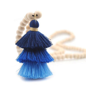 Wood Mala Bead Necklace with Blue Cotton Tassel - ThisBlueBird