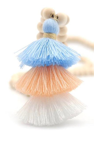 Wood Mala Bead Necklace with Blue Peach Cotton Tassel - ThisBlueBird