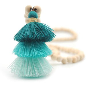 Wood Mala Bead Necklace with Green Cotton Tassel - ThisBlueBird