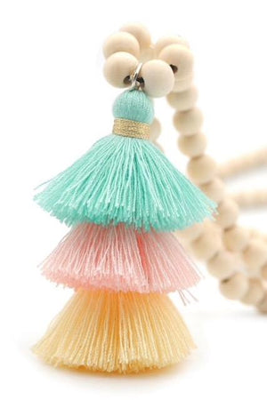 Wood Mala Bead Necklace with Mint Peach Cotton Tassel - ThisBlueBird