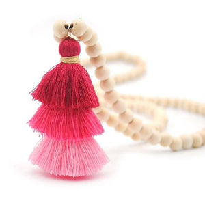 Wood Mala Bead Necklace with Pink Cotton Tassel-ThisBlueBird - Modern Vintage