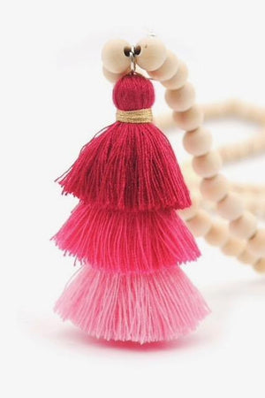 Wood Mala Bead Necklace with Pink Cotton Tassel - ThisBlueBird