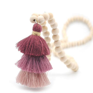 Wood Mala Bead Necklace with Plum Cotton Tassel-ThisBlueBird - Modern Vintage