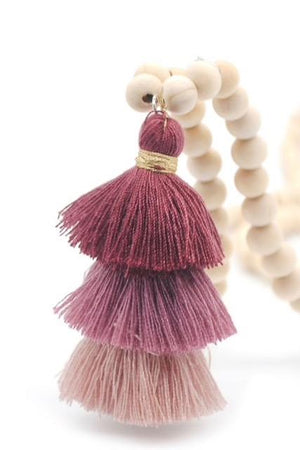 Wood Mala Bead Necklace with Mauve Plum Cotton Tassel - ThisBlueBird