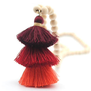 Wood Mala Bead Necklace with Red Cotton Tassel - ThisBlueBird