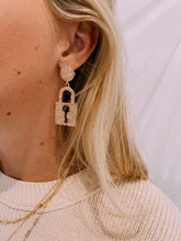 Load image into Gallery viewer, Lock Away The Key Earrings