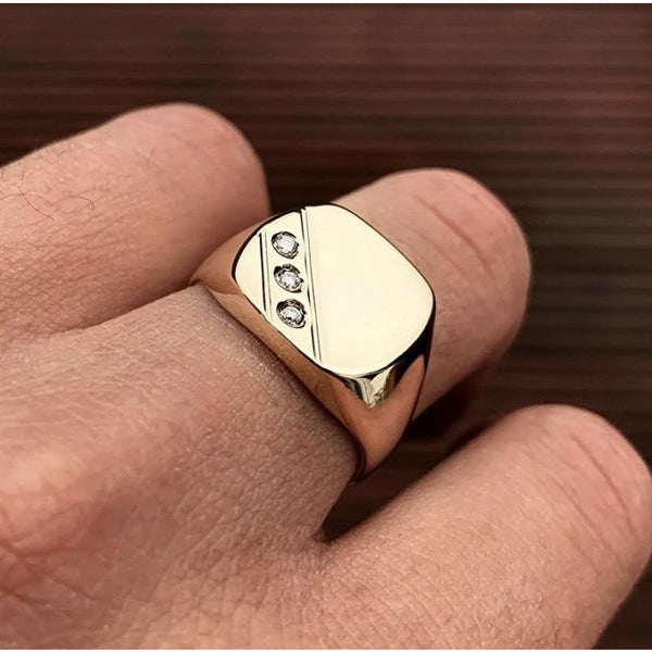 9K Gold Signet Diamond Ring