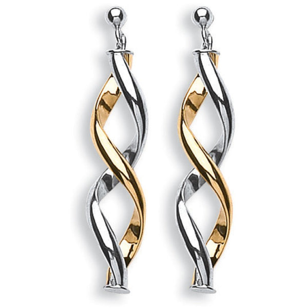 Twisted Drop Earrings 9K Gold - Desanto