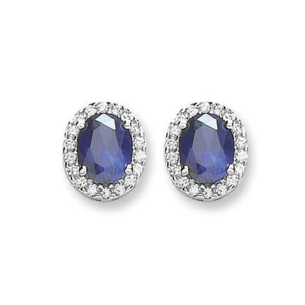 Silver Blue & White Diamanté Stud Earrings - Desanto