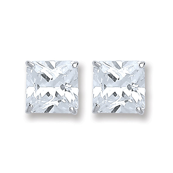 Silver Princess Cut Diamanté 6Mm Stud - Desanto