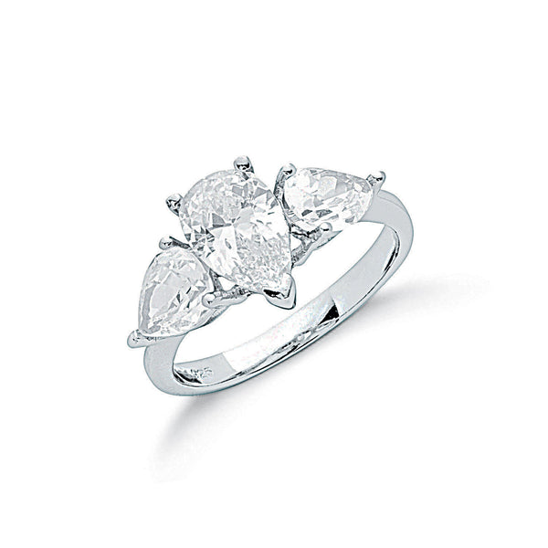 Silver Claw Set Pear Cut Diamanté Trilogy Ring - Desanto