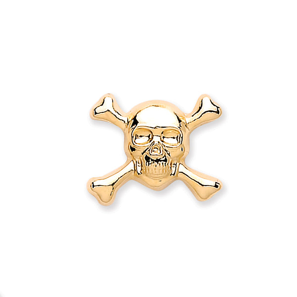 Skull & Crossbones Single Stud 9K Gold - Desanto