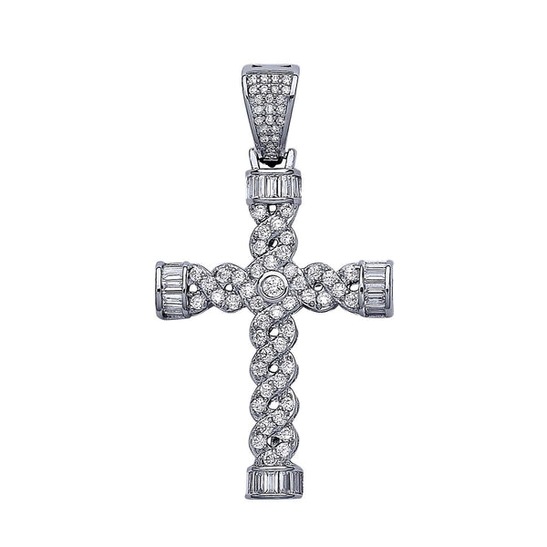 Plait Style Crucifix - Sterling Silver