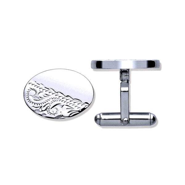 Engraved Oval Cufflinks - Sterling Silver