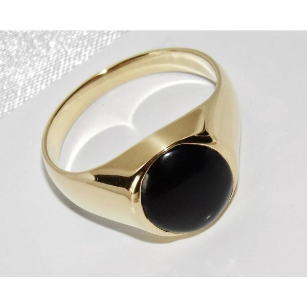 9K Gold Onyx Signet Ring T 4.7g & 9CT YELLOW GOLD ON SILVER BLUE SAPPHIRE RING - SIZE W