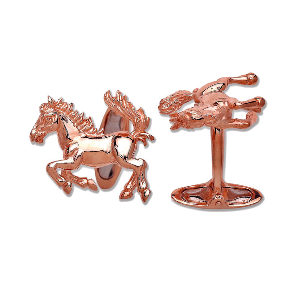 Rose Horse Cufflinks - 9K Gold