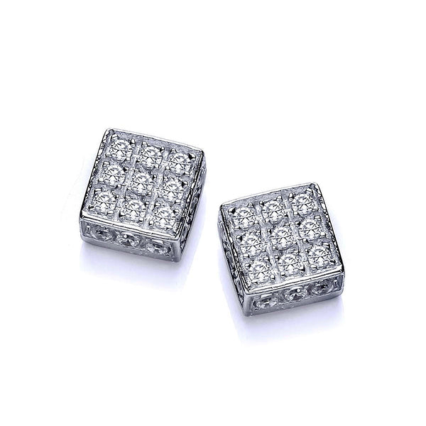Silver Square Studs - Sterling Silver