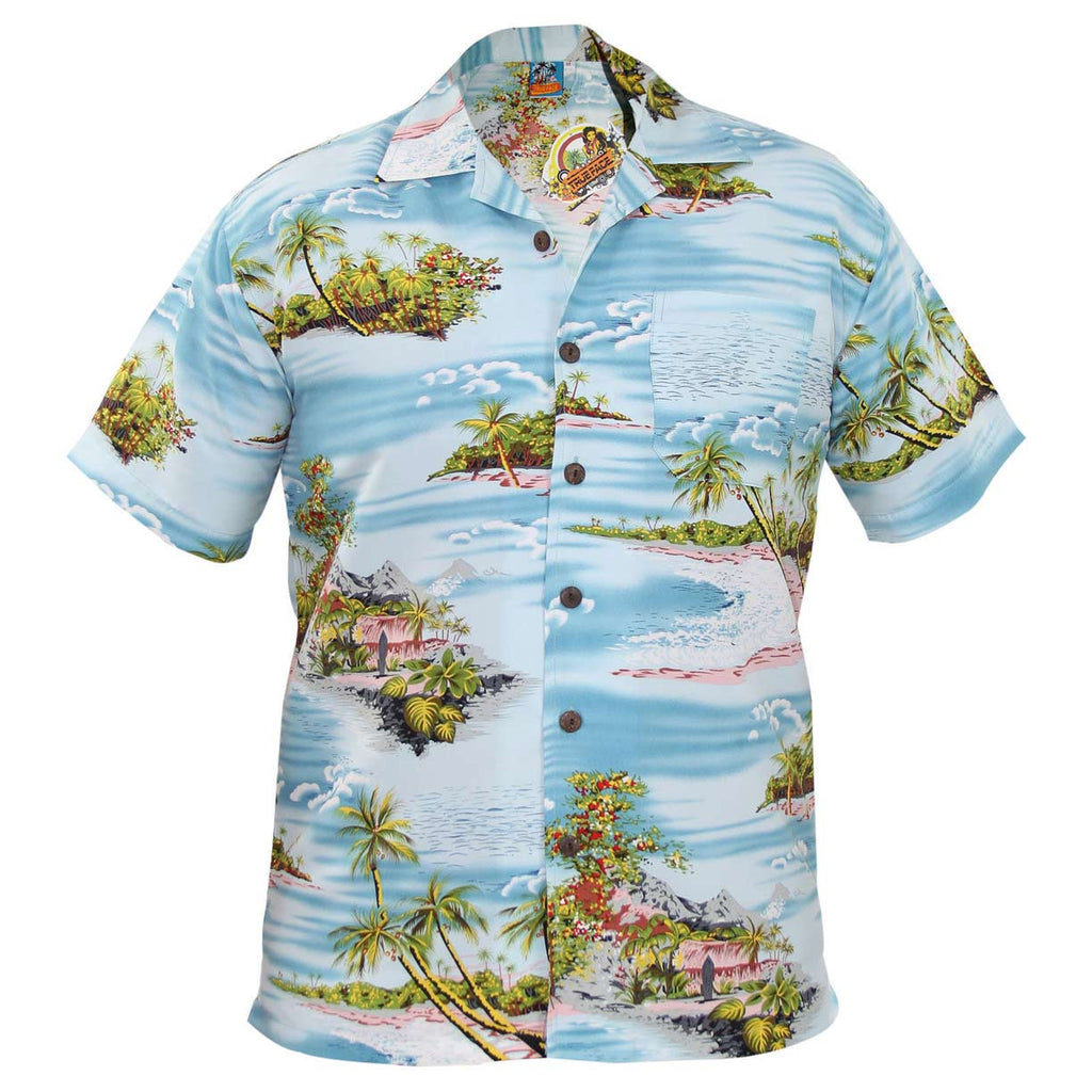 True Face Hawaiian Shirts Aqua