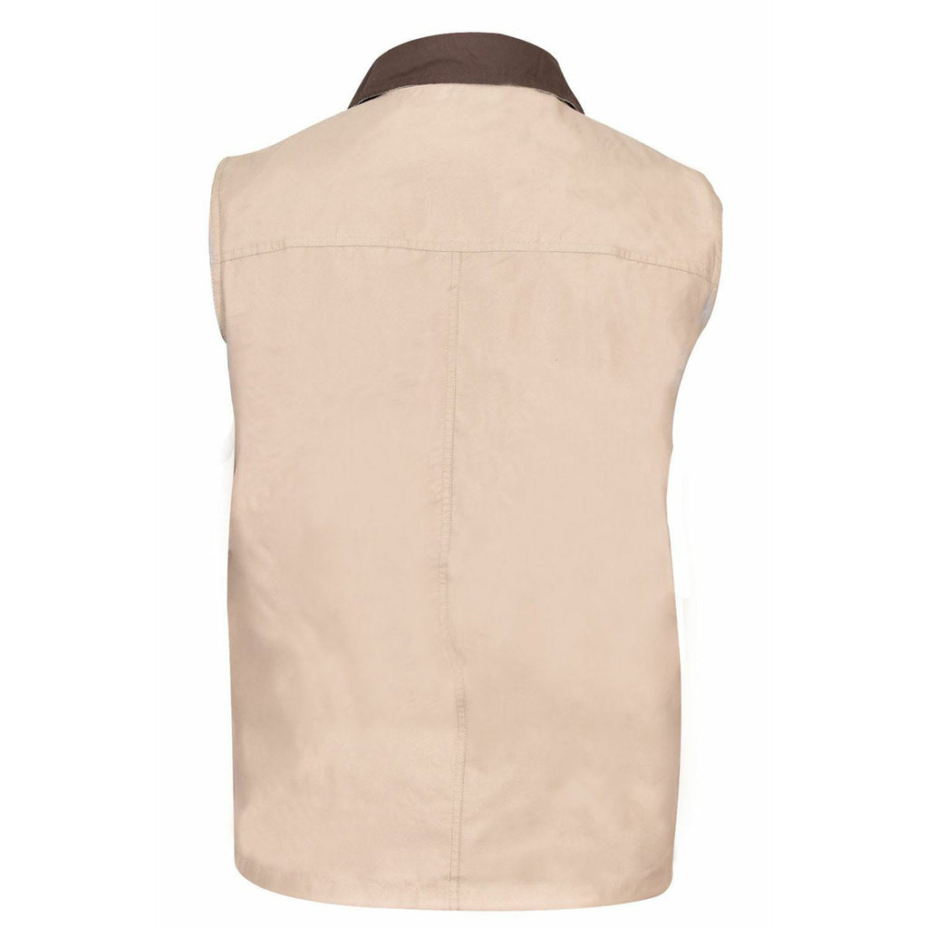 Mens Safari Gilet Fishing Hiking Waistcoat Beige