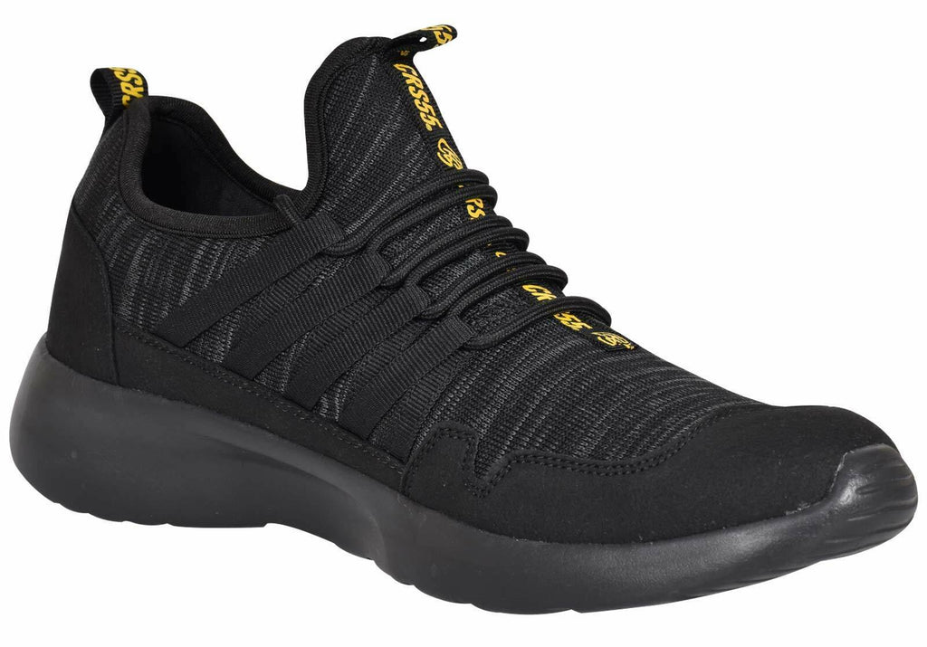 Crosshatch Mens Trainer Lace up Running Shoes Black