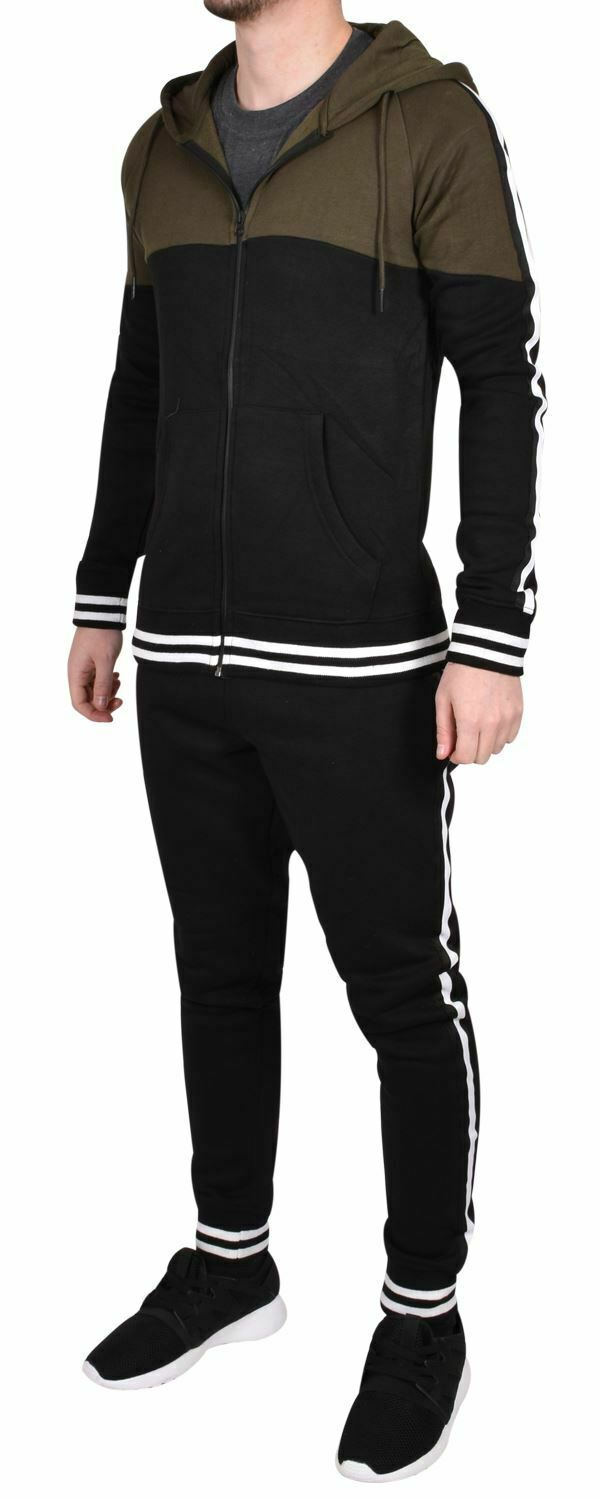 Mens Fleece Tracksuit Hooded Zip Top Jogging Bottom Fitness Gym Running Trousers