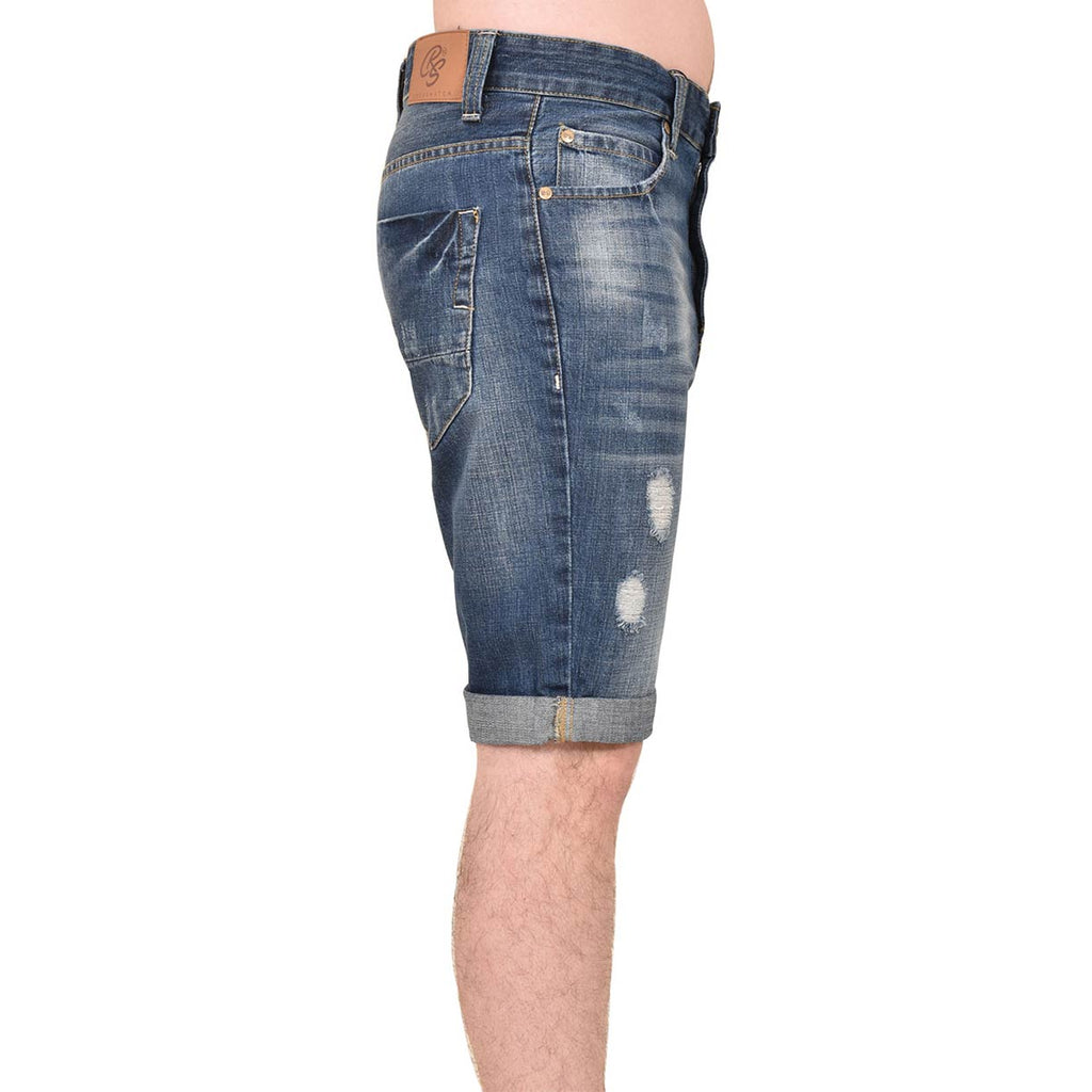 Crosshatch Treyrip Shorts Dark Wash