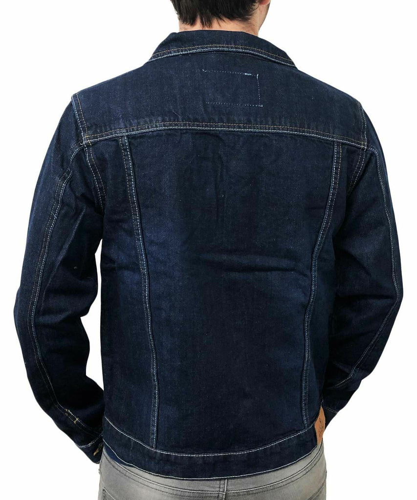 Mens Denim Jeans Jacket Mid Wash