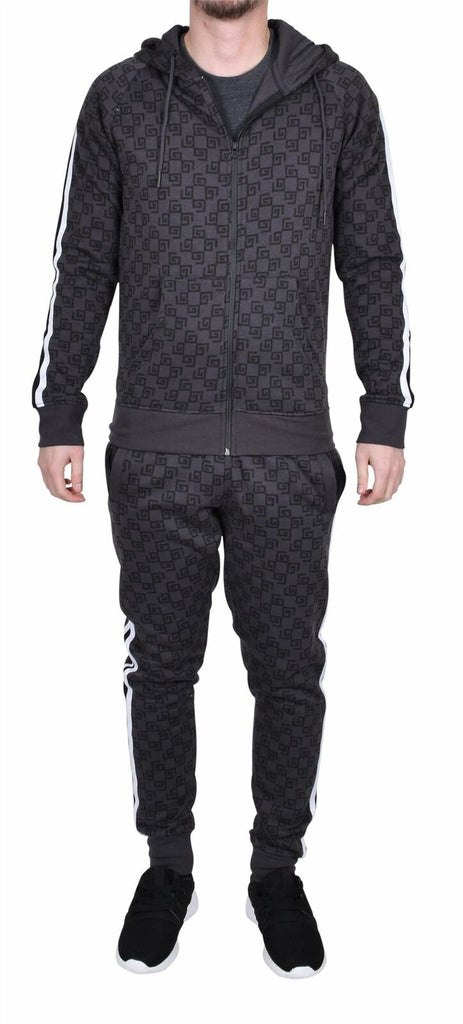 Men Full Tracksuit Set Fitness Jogging Bottom Full Zipper Casual Fleece Hoodie