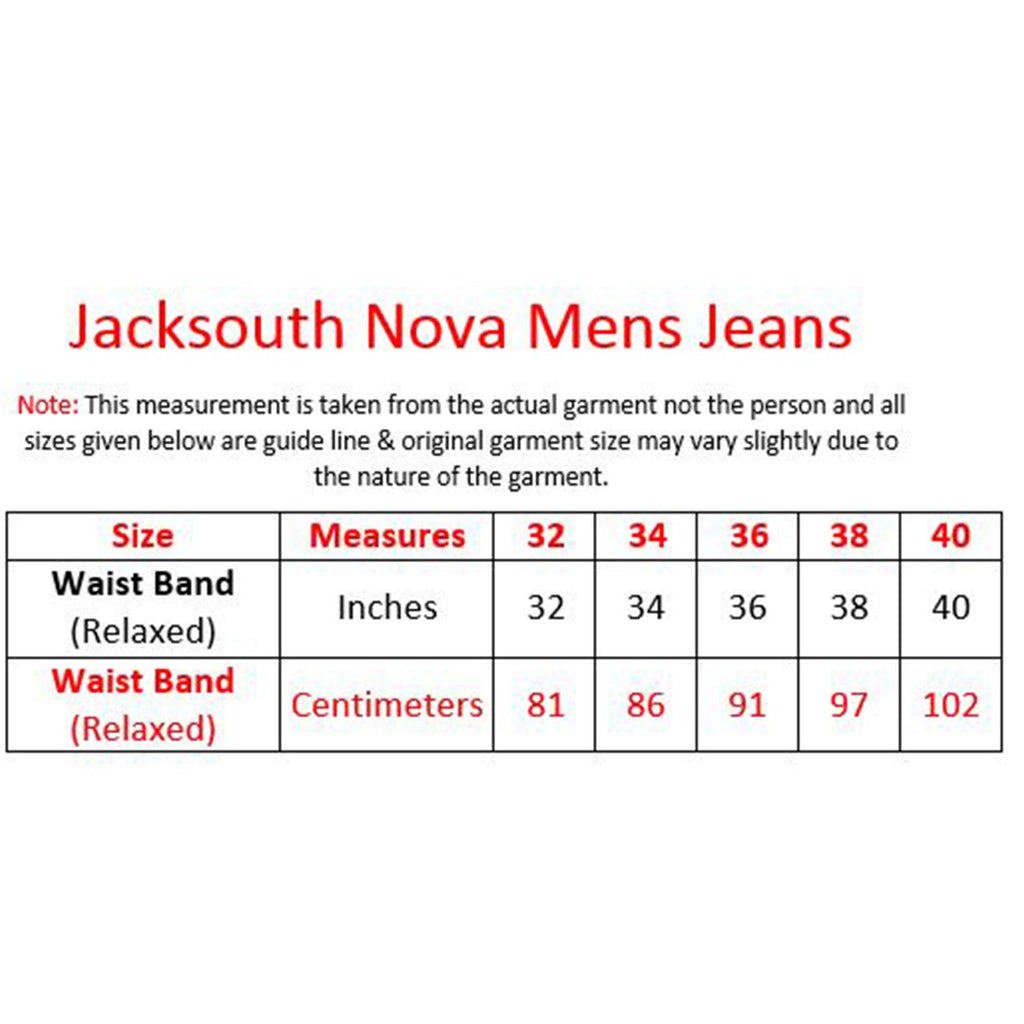 Jack South Nova Chinos Size chart