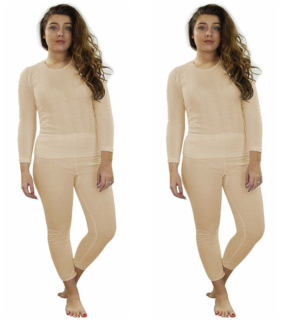 2 Pack Womens Full Set Thermal Top Bottom
