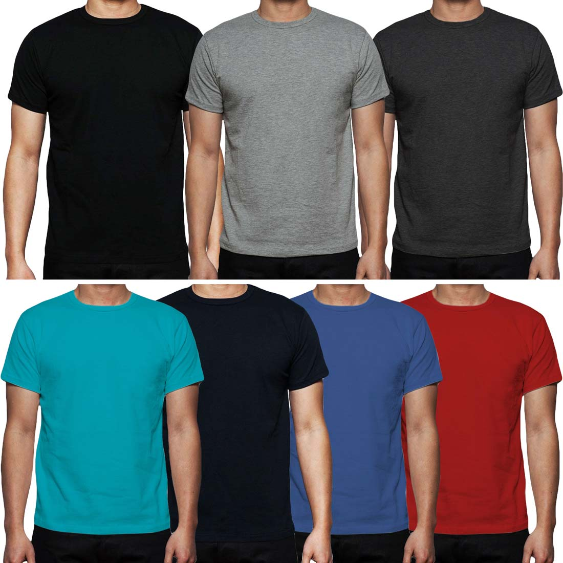 Mens Plain T-Shirt 7 Pack Assorted