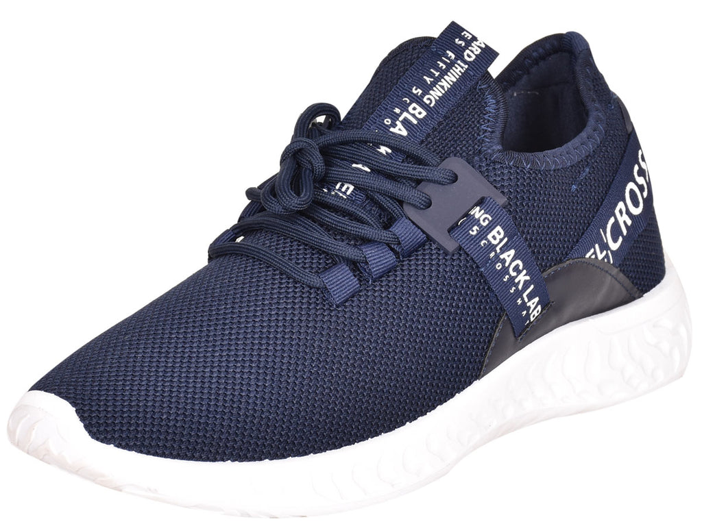 Mens Lace Up Breathable Trainers Navy