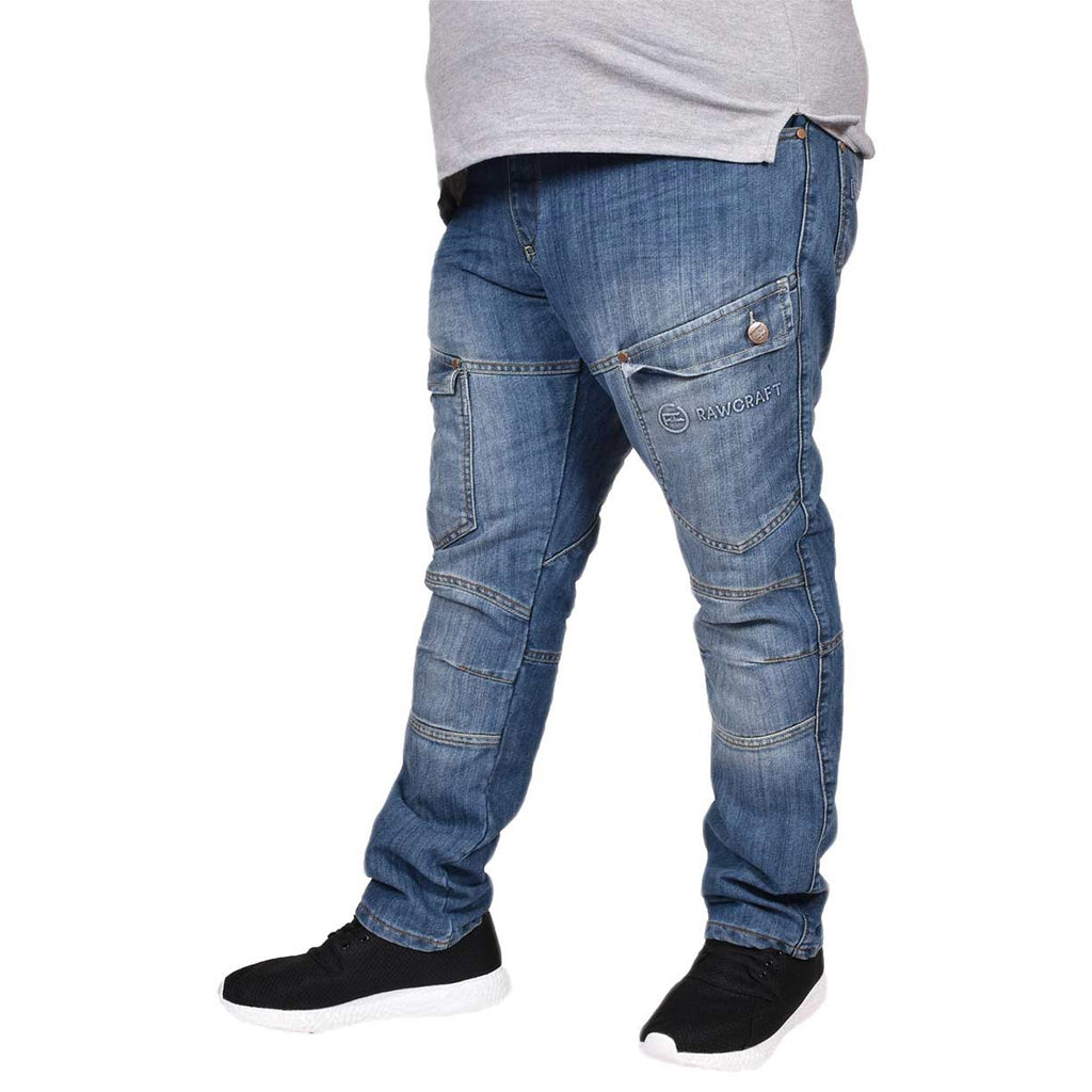 Mens Jeans Raptor Big & Tall Faded Zipped Straight Fit Raptor