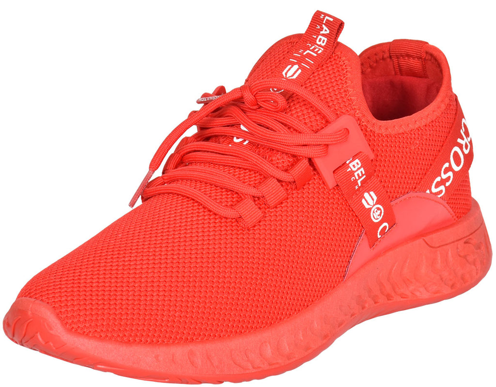 Mens Lace Up Breathable Trainers Red