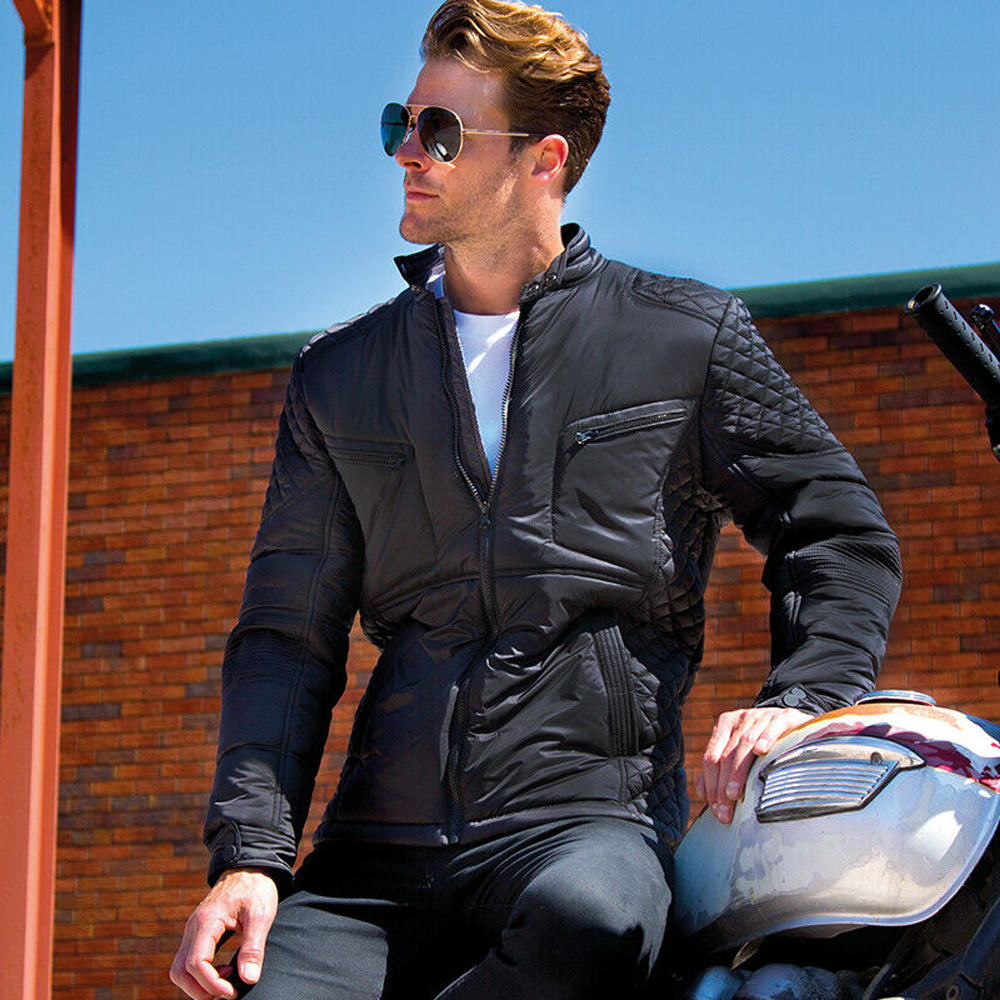 Mens Biker Jacket Soft Padded Slim Fit Biker-Style Heavy Showerproof Windproof