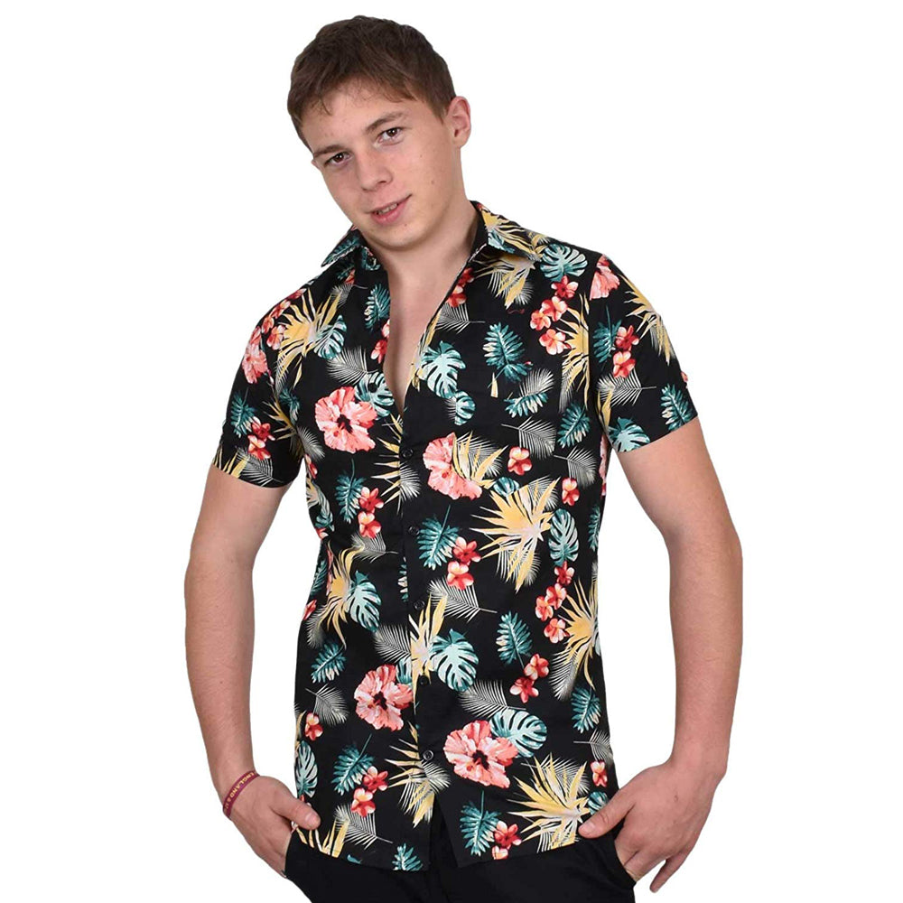 True Face Hawaiian Shirt Blk Flower