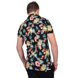 True Face Hawaiian Shirt Black Flower
