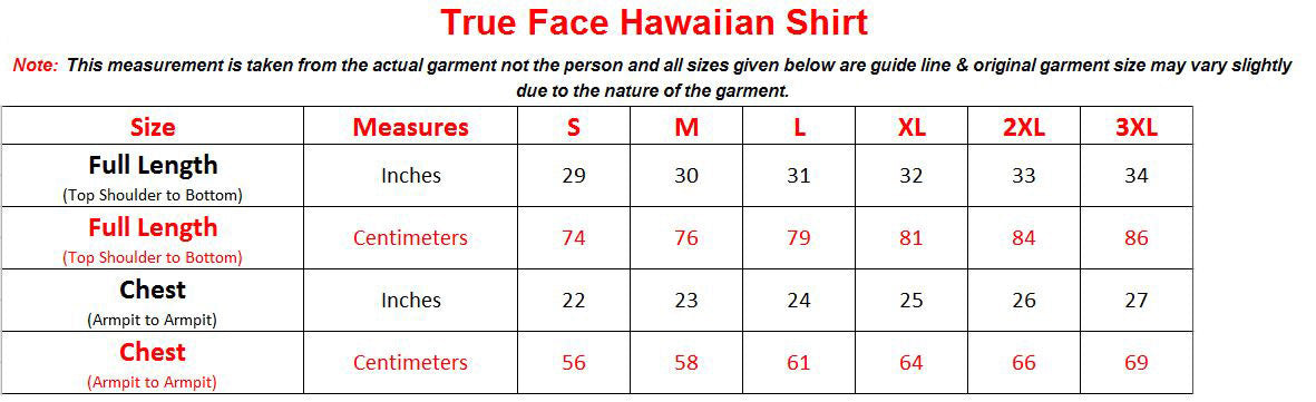 True Face Combat Shorts Trader sizechart