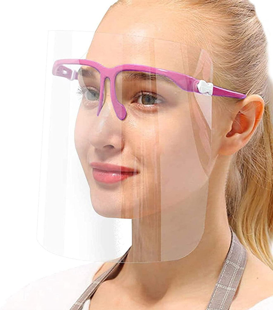 True Face Shield (Pack Of 10) Full Face Visor Glasses Blue Protection Mask Pink 10 Pack