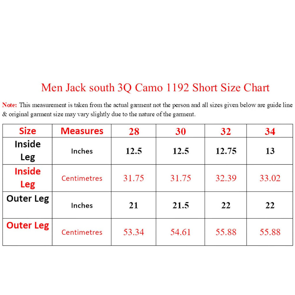 Jack South Men Shorts sizechart
